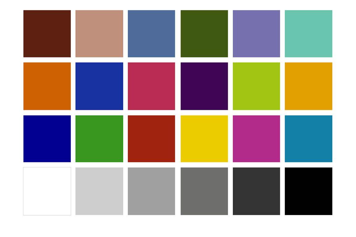 Testcharts tabeller for Peinture pour radiateur couleur